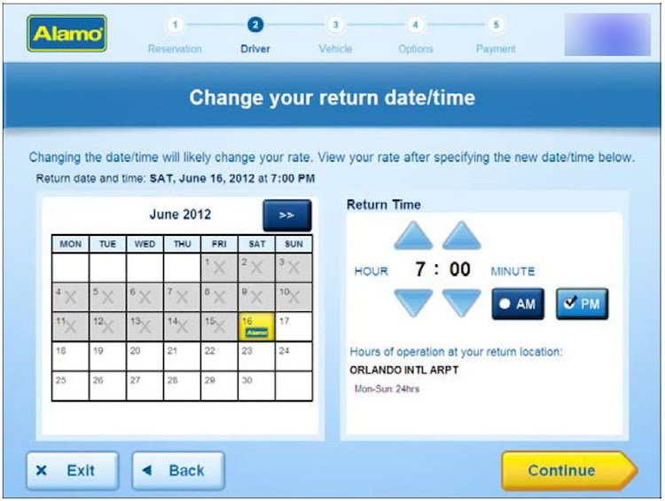 Change return time of your hire car