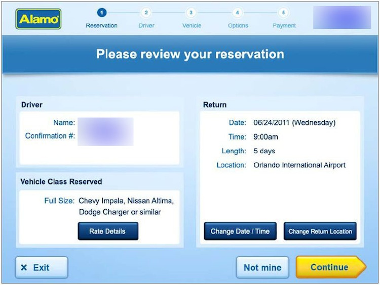 Review your reservation