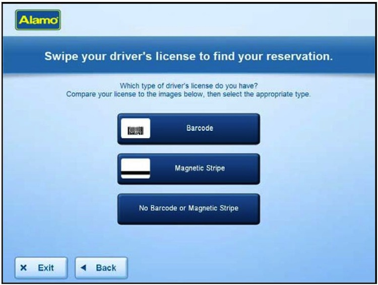 Enter your driving license details at the Alamo kiosk